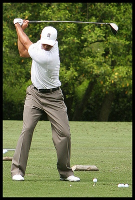 Tiger Woods at the driving range at Augusta National